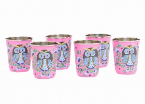 Steel Tumbler Small-Owl Eye Pink ( set of 6 )