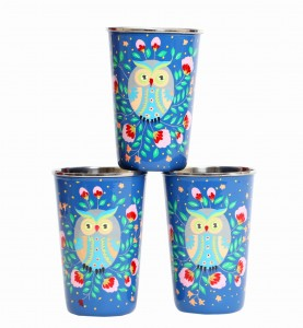 Steel Tumbler Big-Owl Eye Blue ( set of 3)