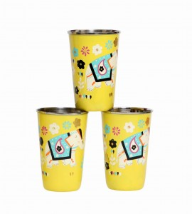 Steel Tumbler Big-ELEPHANT Star-Yellow ( set of 3 )