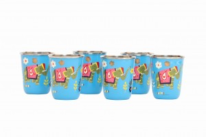 Steel Tumbler Small-ELEPHANT STAR-Blue ( set of 6 )