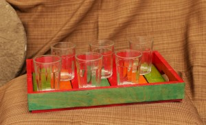 Rustic Mutlicolour Wooden Tray with 6 galsses