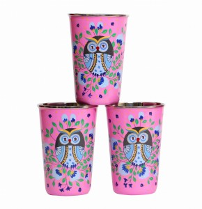 Steel Tumbler Big-Owl Eye Pink ( set of 3 )