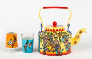 Kettle Set - Indian Art Madhubani Rickshaw