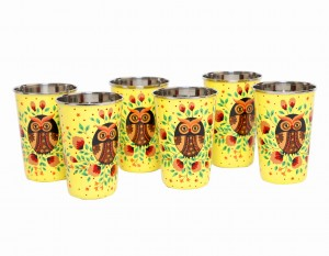 Steel Tumbler Big-Owl Eye Yellow ( set of 6 )