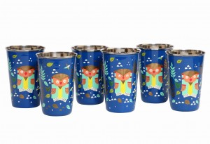 Steel Tumbler Big-Owl Tie Blue ( set of 6 )