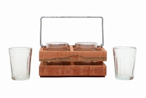 Tapri Glasses - Country Wood Stand With 4 Glasses
