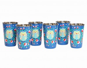 Steel Tumbler Big-Owl Eye Blue ( set of 6 )