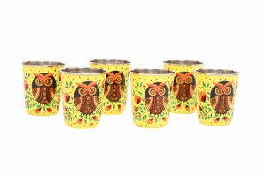 Steel Tumbler Small-Owl Eye Yellow ( set of 6 )