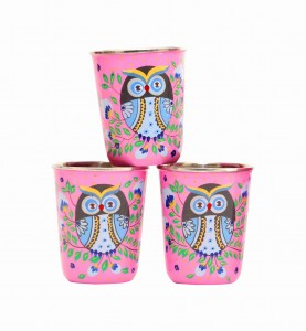 Steel Tumbler Small-Owl Eye Pink  ( set of 3 )