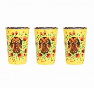 Steel Tumbler Big-Owl Eye Yellow ( set of 3 )