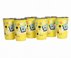 Steel Tumbler Big-ELEPHANT Star-Yellow ( set of 6 )