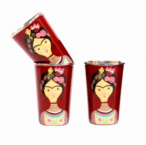 Steel Tumbler Big-Lady Rose Maroon ( set of 3 )