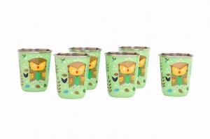 Steel Tumbler Small-Owl Tie Green ( set of 6 )