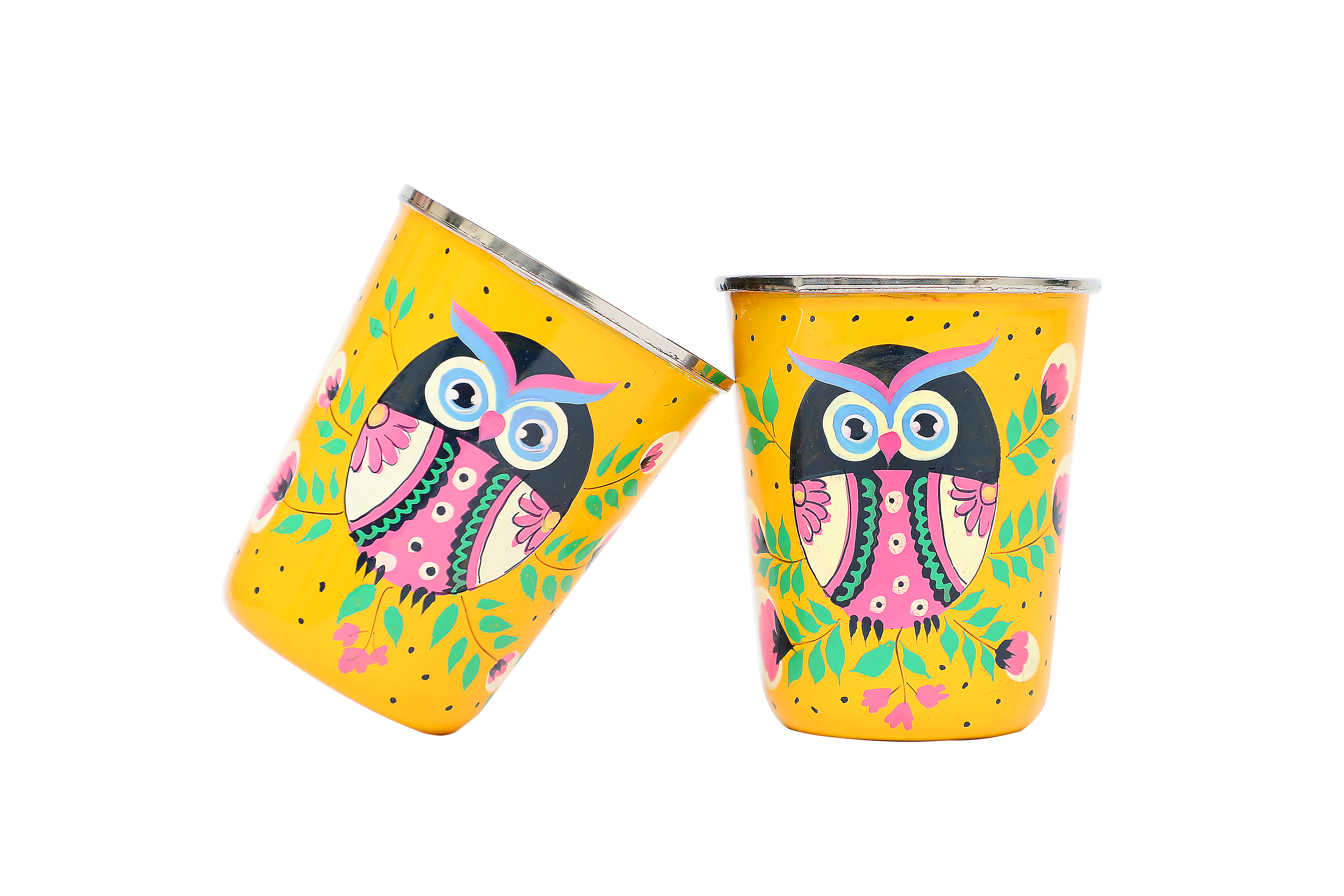 Stainless Steel Tumbler Small - Owl Eye Yellow